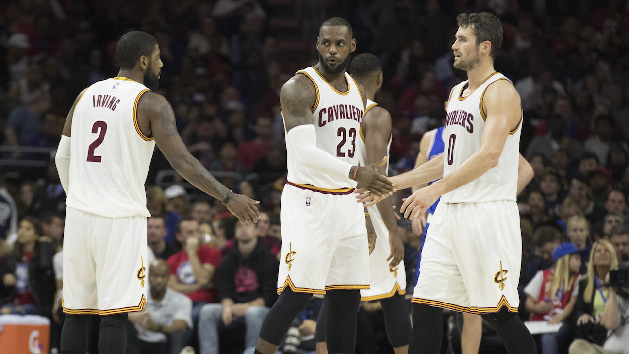 Lebron James, Kyrie Irving y Kevin Love